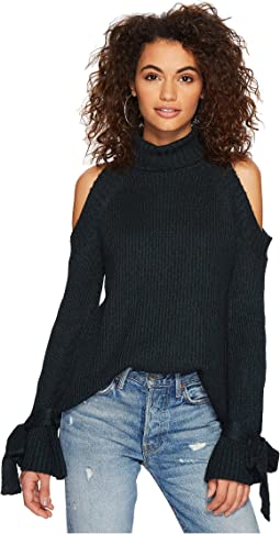 J.O.A. - Cold Shoulder Tie Sleeve Sweater