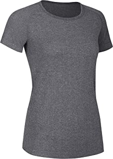 CRZ YOGA Women's Seamless Workout Athletic Tee Stretch Raglan Sleeve Shirts Running Tops Light Grey Medium