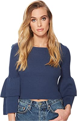 Alanis Double Ruffle Sleeved Sweater