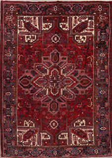 Vintage Long-Wearing Geometric Heriz Serapi Persian Area Rug Hand-Knotted Wool Oriental Carpet 7x10 (10' 4'' x 7' 3'')
