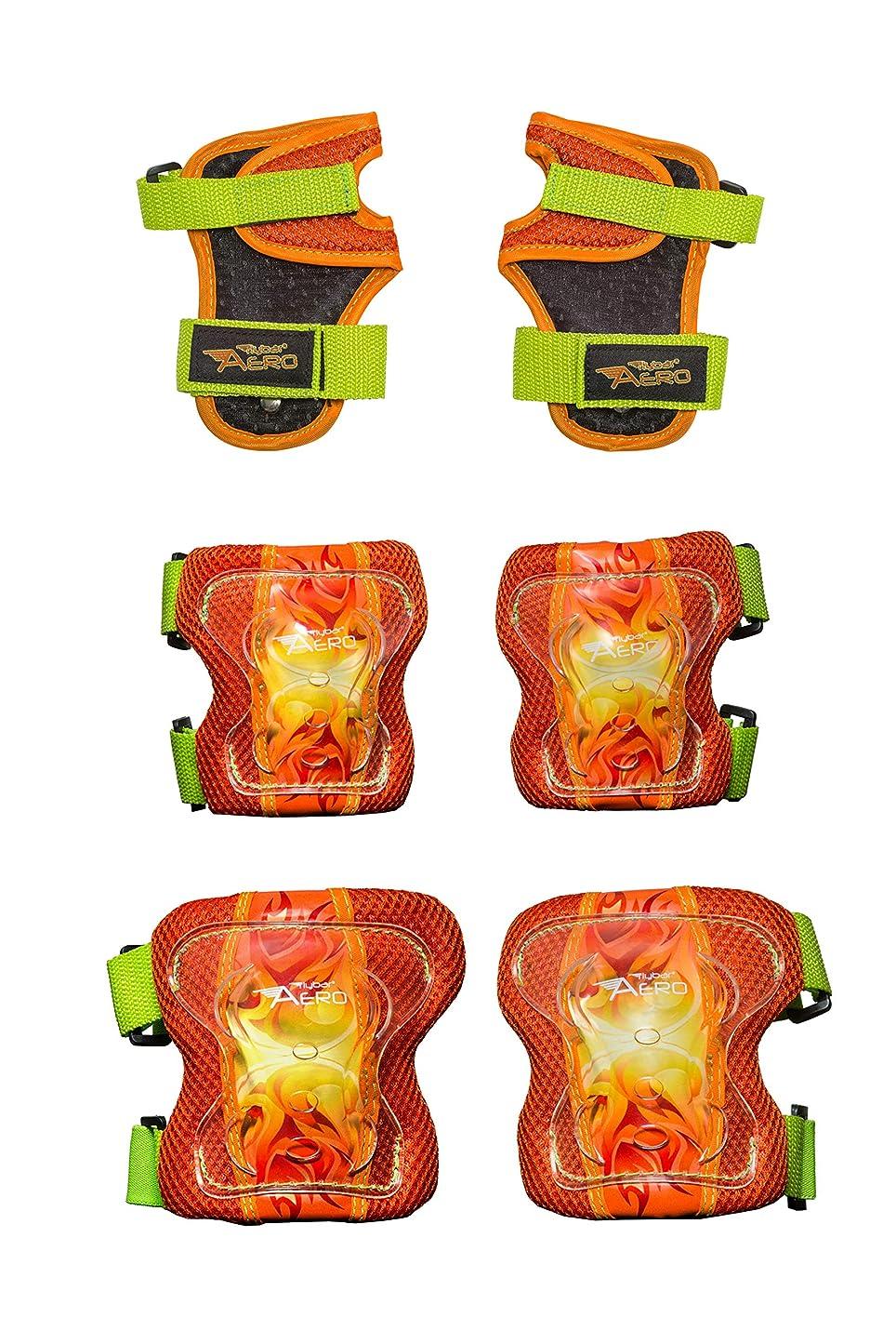 対角線ジョガー全くFlybar AERO 肘 膝 手首ガード 安全セット - マルチスポーツ保護 スケートボード BMXポゴー インラインスケート スクーター - ジュニアサイズ 対象年齢5歳から10歳