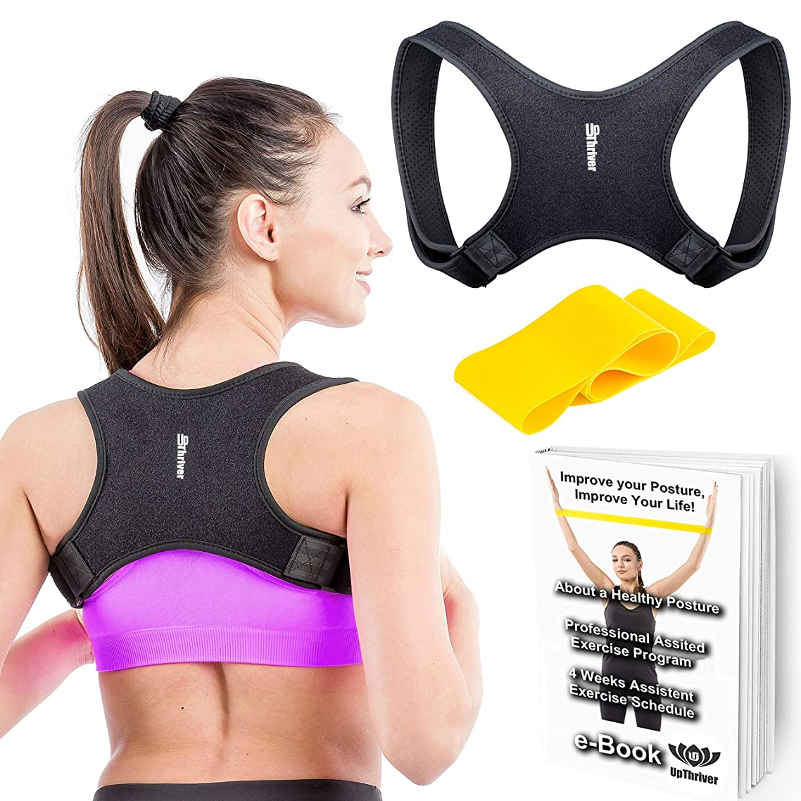 UpThriver Back Brace Posture Corrector – Adjustable Support for Women & Men - Regain Natural Posture - Pain Relief Slouching & Under Clothes Hunching Corrector