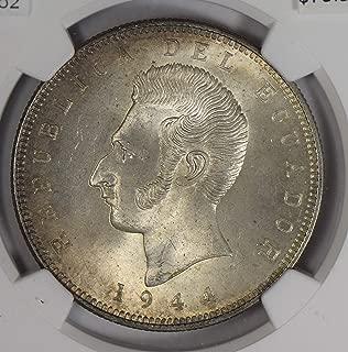 1944 EC NG0752 Ecuador 5 Sucres MO NGC MS64 struck in Mexico silver DE PO-01 NGC