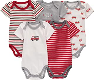 5 Pack Baby Girls' and Boys' Newborn and Infant Cotton Short Sleeve Bodysuits