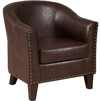 "Pulaski Faux Leather Barrel Accent Chair, 37"" x 30"" x 31"", Brown"