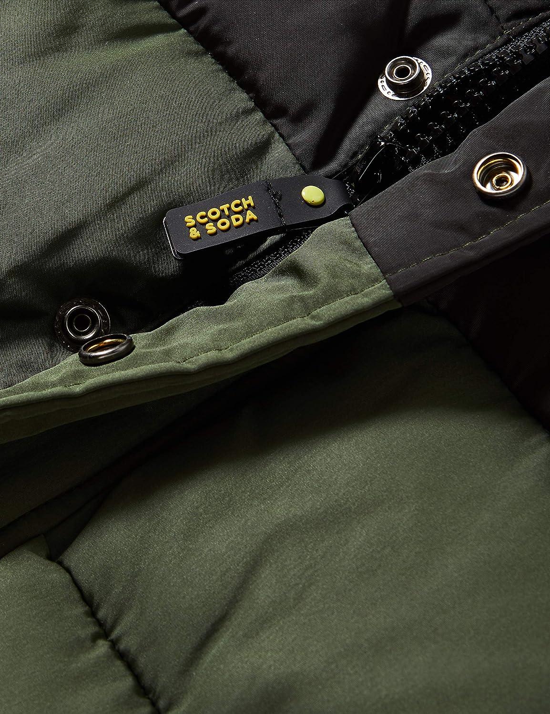 Scotch /& Soda Hooded Jacket with Padding and Contrast Yokes Veste Gar/çon