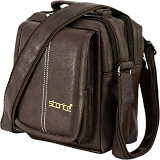 Storite Stylish PU Leather Sling Cross Body Travel Office Business Messenger One Side Shoulder Bag for Men Women(Brown, 2...