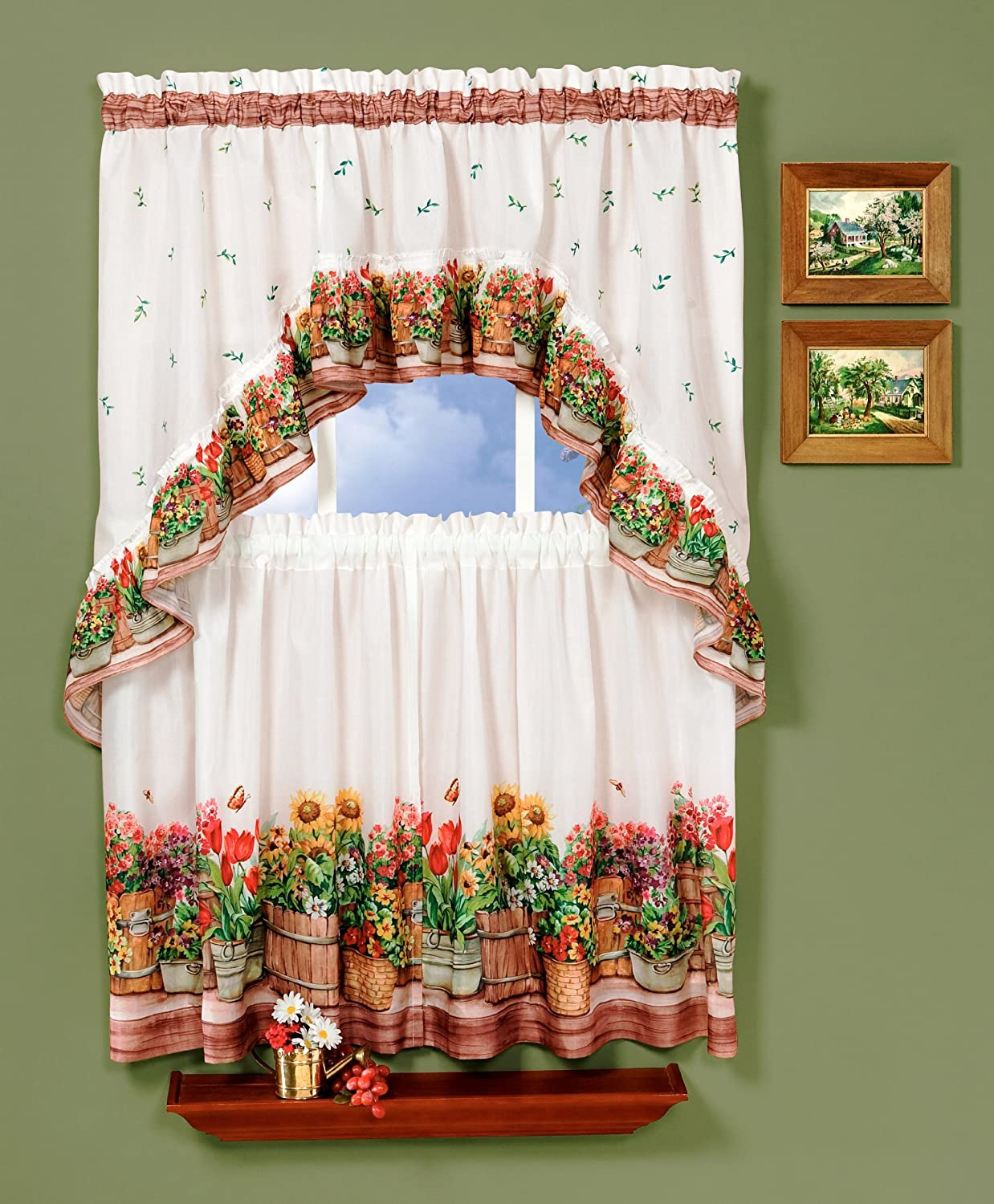 Amazon Com Achim Home Furnishings 57 Country Garden Swag And Tier Kitchen Curtain Set 24 Inch Inch Inch Multi Color Home Kitchen