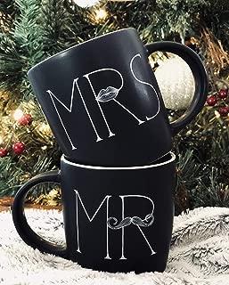MKT ST Mr and Mrs Ceramic Coffee Mug, Matte Black (Set of 2)