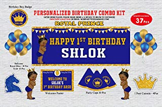 WoW Party Studio Personalized Royal Prince Theme Birthday Party Supplies with Birthday Boy/Girl Name - Combo Kit (37 Pcs)