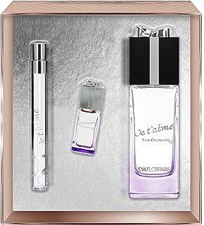 Evaflorparis Je TAime Tendrement Gift Box Eau de Parfum 100 Ml + Miniature 7.5 Ml +Pocket Atomizer 12 Ml Set Women Spray ...