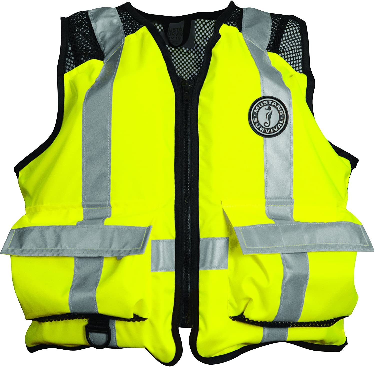 Mustang Survival Corp ANSI Industrial Mesh Vest (ANSI 1072004 Class 1 Compliant), Fluorescent Yellow Green, XxLarge 3XLarge