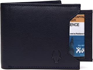 WildHorn Genuine Leather Hand-Crafted Bifold Wallet,Ultra Slim Wallet with 6 Card Slot,Coin pocket,Quick Card Slot and 2 Currency Pocket for ID Card,CreditCard,Business Card,Cash WildHorn Blue WHW156