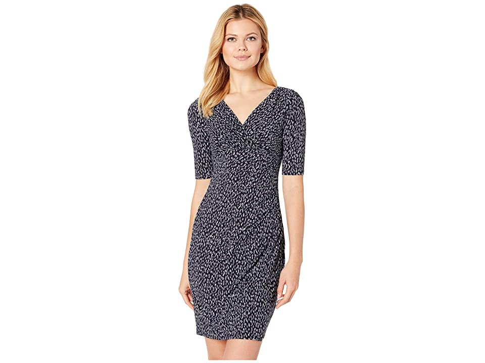 LAUREN Ralph Lauren Falling Water Abstract Chelsie Dress (Navy/Blue/Multi) Women