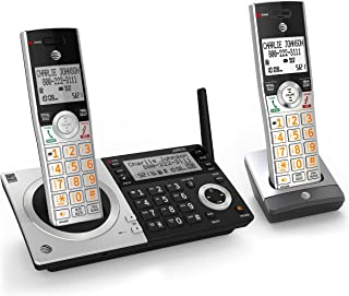 AT&T CL83207 DECT 6.0 Expandable Cordless Phone with Smart Call Blocker, Silver/Black with 2 Handsets