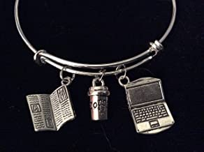 Newspaper Reporter Writer Jewelry Computer Coffee Cup Silver Adjustable Bracelet Expandable Charm Bangle