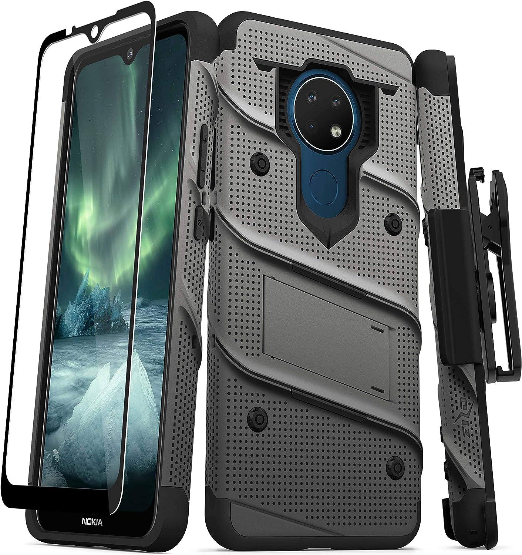 ZIZO Bolt Series for Nokia C5 Endi Case with Screen Protector Kickstand Holster Lanyard - Gun Metal Gray & Black