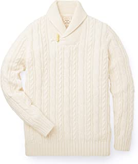 Hope & Henry Men's Shawl Collar Cable Knit Sweater