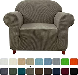subrtex 1-Piece Jacquard high Stretch Armchair slipcover, Furniture Protector for Sofa Spandex Washable Settee Seater Cushion Couch Cover Coat (Small, Olive Green), Khaki