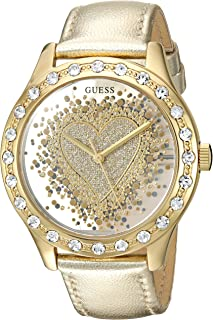 GUESS Women's U0909L2 Trendy Gold-Tone Watch with  Gold Dial  and Genuine Leather Band