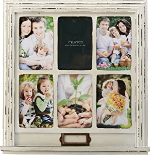 MELANNCO 6-Opening Distressed Window Collage, White, 15.25-Inch-by-16-Inch