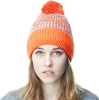 226fe6448a6ac2 THE HAT DEPOT Exclusive Ribbed Knit Beanie Warm Fuzzy Thick Fleece Lined Hat  Winter Skull Cap