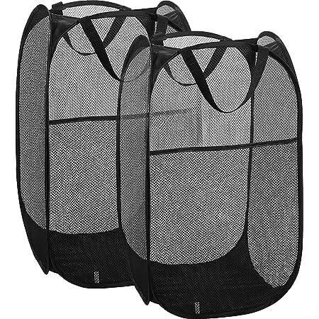 Simplized Popup Laundry Hamper (1 & 2 Pack) Foldable Pop-up Mesh Hamper Dirty Clothes Basket w Carry Handles (Black-Regular 2)