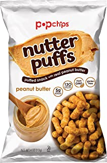 popchips Nutter Puffs Peanut Butter 4 Oz Bags (Pack Of 12)