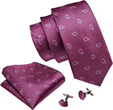 Barry.Wang Fun Animal Ties for Men Designer Hanky Cufflinks Necktie Set WOVEN