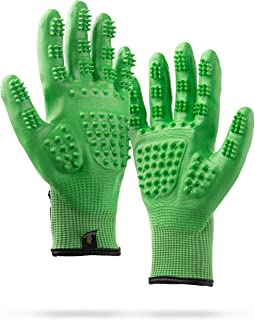 #1 Ranked, Award Winning Handson Gloves for Shedding, Bathing, Grooming, De-Shedding Horses/Dogs/Cats/Livestock/Small Pets - Green SMALL