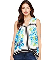 CeCe - Whispering Tile Blooms Sharkbite Blouse