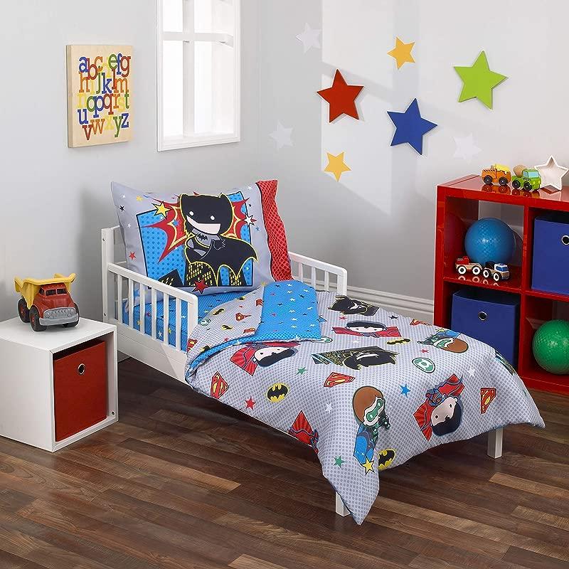 Warner Brothers Justice League 4 Piece Toddler Bedding Set Grey Blue Red Black