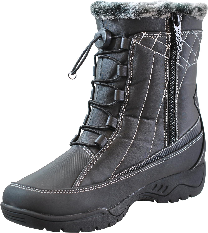 Totes Womens Barbara Faux Fur Mid Calf Snow Boots
