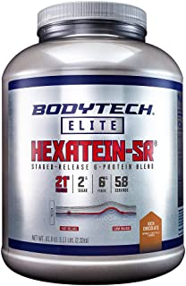 BodyTech Hexatein SR™ (Staged Release) 6 Protein Blend for Muscle Growth Recovery + EFA's, MCT's CLA Rich Chocolate (5.11 ...