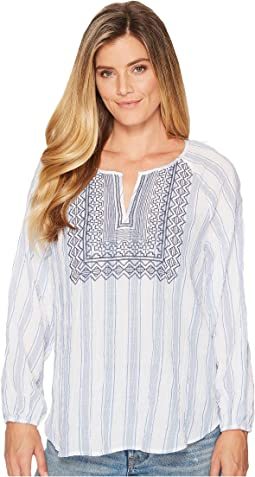 Long Sleeve Stripe Pucker Peasant Blouse with Embroidered Bib