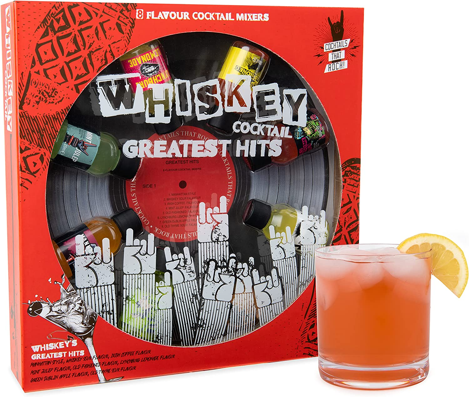 Modern Gourmet Foods, Greatest Hits Cocktail Mixers for Whisky Gift Set, Los Sabores Incluyen Manhattan Style, Whisky Sour, Old Fashioned y Más, Pack 8 (No Contiene Alcohol)