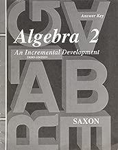 Answer Key for Saxon Algebra 2