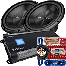 "Pair of Pioneer TS-A300D4 12"" Dual 4 Ohms Voice Coil Subwoofer - 1500 Watts (2 Subwoofer) + 6000 Watts Monoblock Amplifier + 0 Gauge Installation Kit Included"