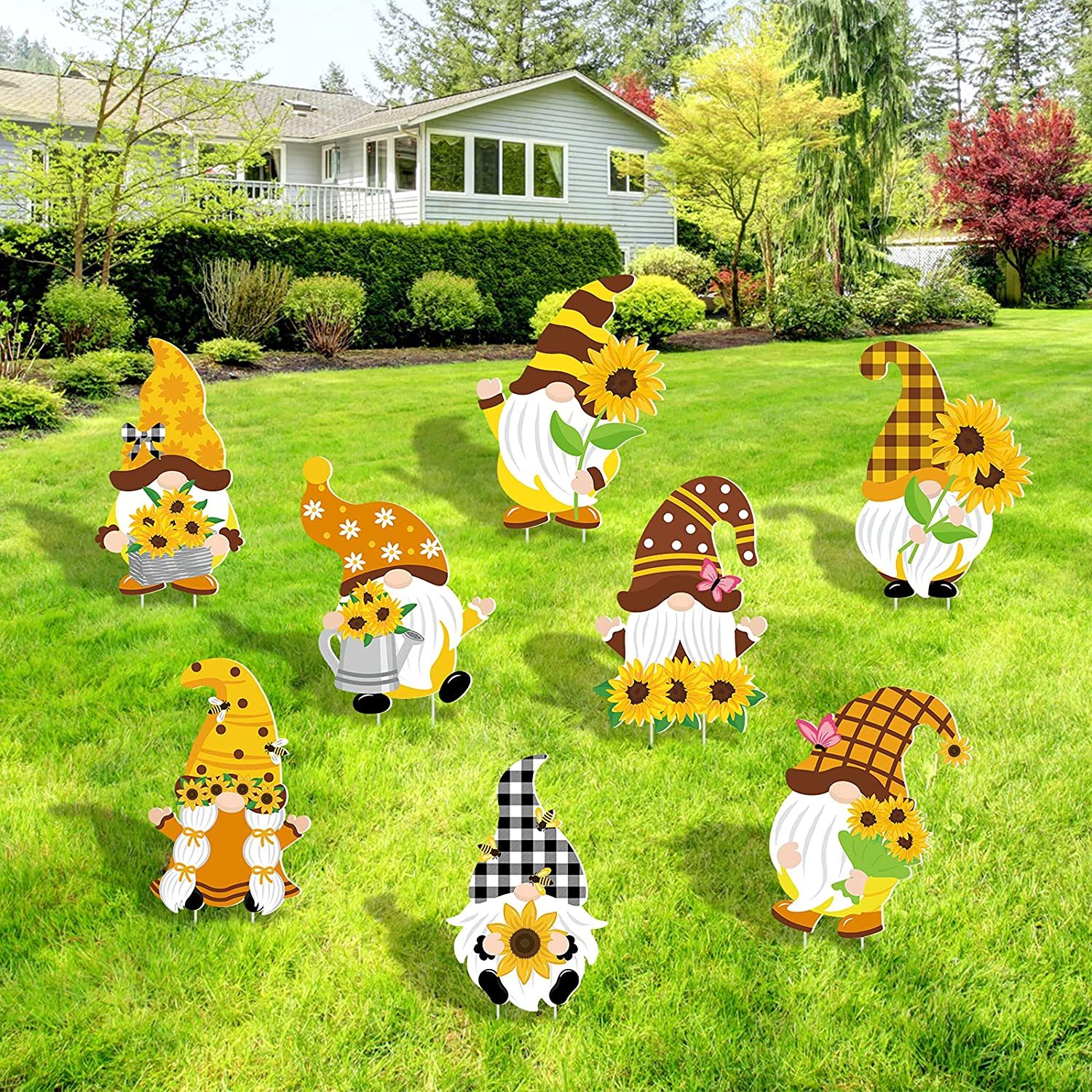 Sunflower Gnome Yard Sign Fall Decorations for Outdoor Sunshine Buffalo Plaid Gnomes Shaped Lawn Garden Sign with Stakes Yard Street Pathway Ornaments Spring Winter Welcome Home Gnomes Set of 8