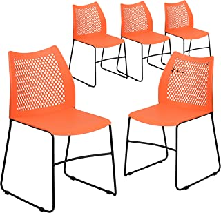 Flash Furniture 5 Pk. HERCULES Series 661 lb. Capacity Orange Sled Base Stack Chair with Air-Vent Back -