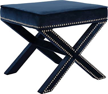 "Meridian Furniture 126Navy Nixon Collection Modern | Contemporary Velvet Upholstered Ottoman / Bench with X-Leg Design, Deep Button Tufting and a Solid Wood Frame Navy 20.5"" W x 20.5"" D x 19"" H"