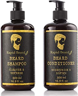 Beard Shampoo and Beard Conditioner Wash & Growth kit for Men Care - Softener & Moisturizer for Hydrating, Cleansing and Refreshing Beard and Mustache Facial Hair Gift Set ((500ml (17 fl oz))