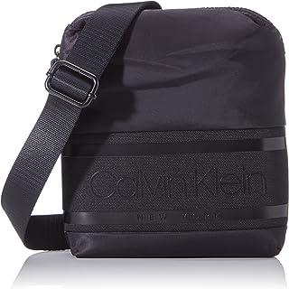 Calvin Klein - Striped Logo Mini Reporter, Shoppers y bolsos de hombro Hombre, Negro (Blackwhite Black), 1x1x1 cm (W x H L)