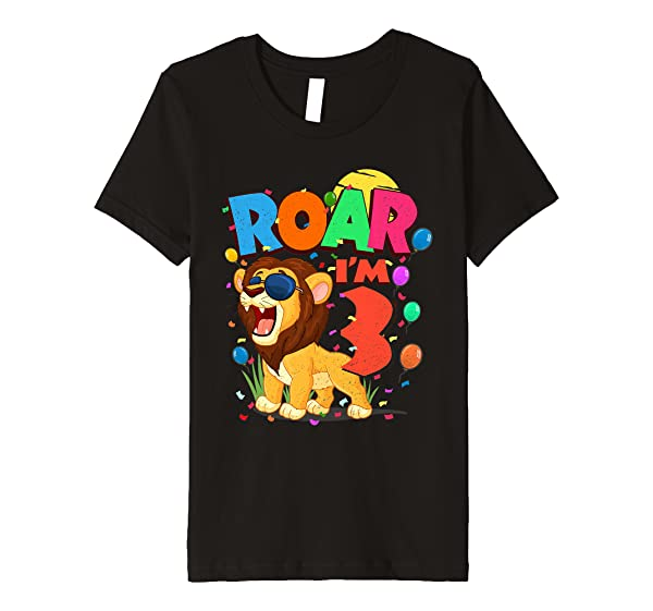 3rd Birthday Roar I'm 3 Year Old Shirt Lion Safari Gift Premium T-shirt