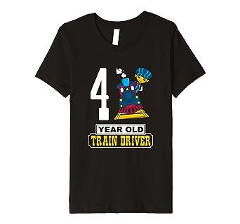 Kinder 4 Year Old Train Driver T Shirt