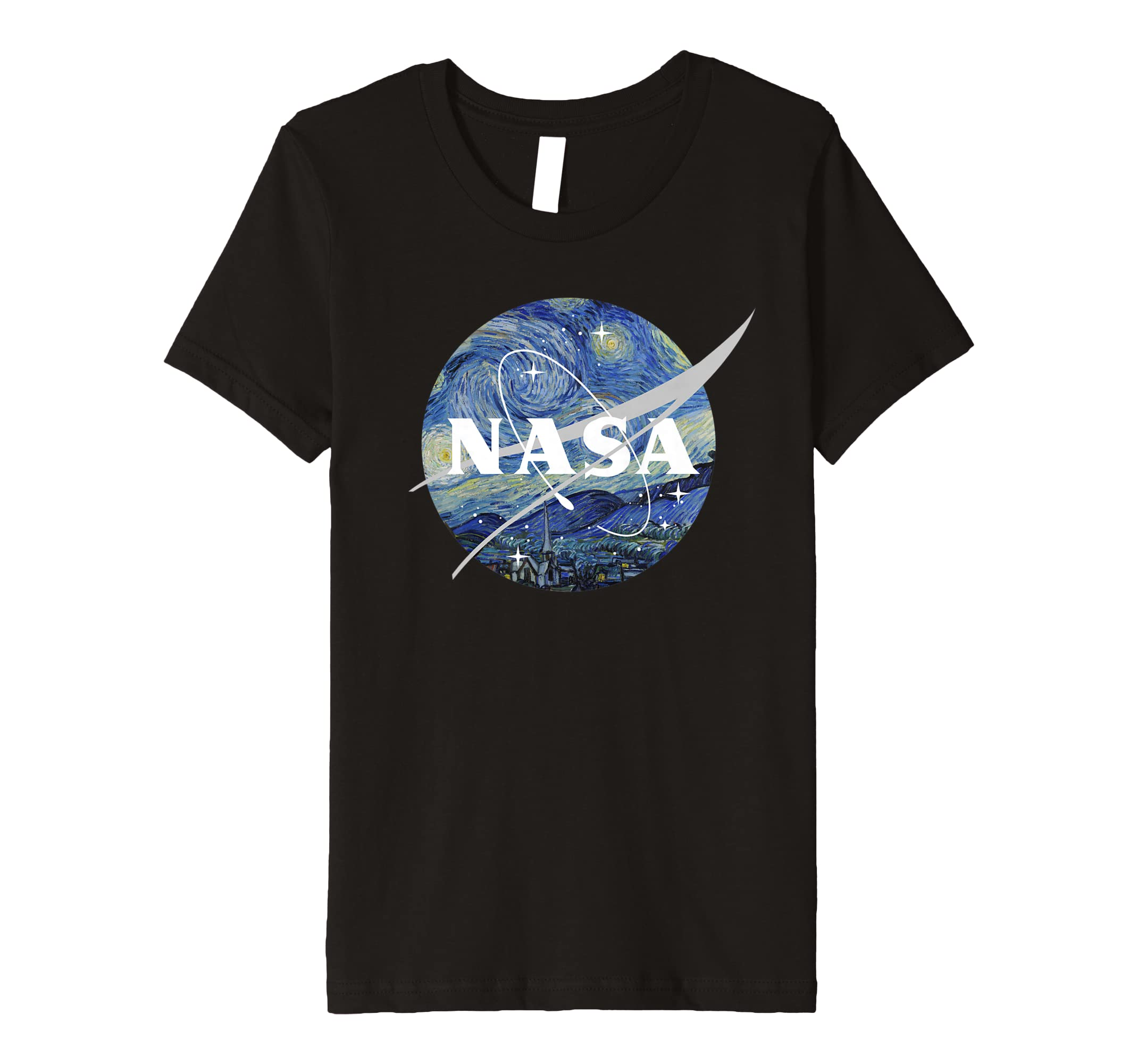 e993842d Amazon.com: NASA Starry Night Classic Chevron Logo Premium T-Shirt: Clothing