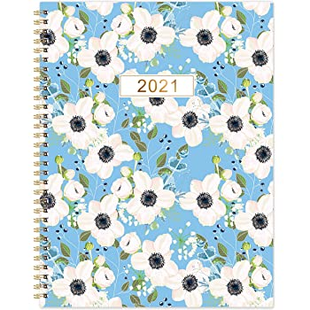 "2021 Monthly Planner - 18-Month Planner with Tabs & Pocket & Label, Contacts and Passwords, 8.5"" x 11"", Thick Paper, Jan. - Dec. 2021, Twin-Wire Binding - Flower by Artfan"