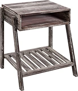 MyGift Rustic Torched Wood Nightstand Side Table with Open Storage and Shelf