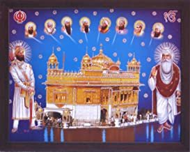 Lord Gurunank dev ji and Guru Gobind singh ji standing outside golden temple and giving blessings, A Sikh Religious painting poster with frame, must for Sikh family home / office / Sikh Religious