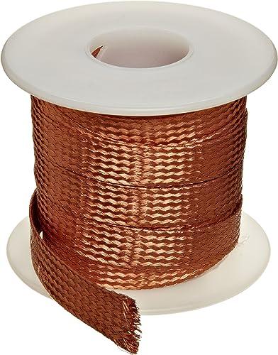 "Flat Bare Copper Braid, Bright, 1/8"" Diameter, 25' Length (Pack of 1)"